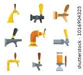 beer tap icons set. flat... | Shutterstock .eps vector #1016904325