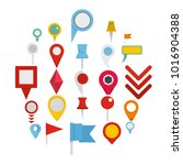 map pointer pin icons set. flat ... | Shutterstock .eps vector #1016904388