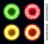 neon light circles set. shining ... | Shutterstock . vector #1016910622