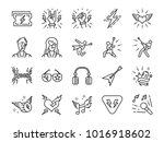 rock and roll line icon set.... | Shutterstock .eps vector #1016918602