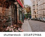 cozy street with tables of cafe ... | Shutterstock . vector #1016919466