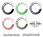 set of grunge round shape with... | Shutterstock .eps vector #1016921428
