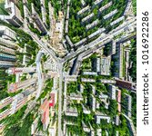 aerial city view with... | Shutterstock . vector #1016922286