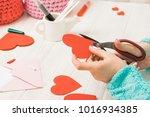 valentine's day theme. female... | Shutterstock . vector #1016934385