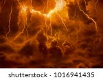 Dramatic religious background - hell realm, bright lightnings in dark red apocalyptic sky, judgement day, end of world, eternal damnation