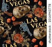embroidery skulls and guns ... | Shutterstock .eps vector #1016943778