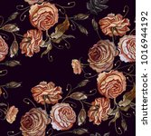 roses embroidery seamless... | Shutterstock .eps vector #1016944192