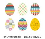 isolated colourful easter eggs... | Shutterstock .eps vector #1016948212