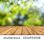 brown wood surface on a green...   Shutterstock . vector #1016954548