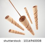 crispy cream filled wafer... | Shutterstock . vector #1016960008
