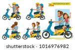 riders couple trip travel... | Shutterstock .eps vector #1016976982