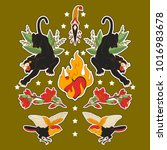 indian set of stickers  pins ...   Shutterstock . vector #1016983678