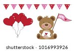 valentines day bear and balloons | Shutterstock .eps vector #1016993926