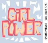 girl power paper cut style... | Shutterstock .eps vector #1017005776