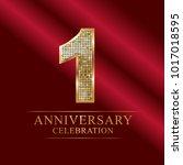 1 year anniversary celebration... | Shutterstock .eps vector #1017018595