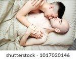 relaxed gay partners sleeping... | Shutterstock . vector #1017020146