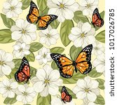 pattern with flowers and... | Shutterstock .eps vector #1017026785