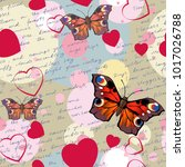 pattern with hearts and... | Shutterstock .eps vector #1017026788