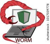 clip art of computer virus worm | Shutterstock .eps vector #1017039778