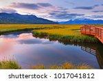 beautiful sunrise at potter... | Shutterstock . vector #1017041812