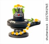 lord shiva lingam decorated... | Shutterstock .eps vector #1017041965