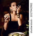 beautiful sexy fashion brunette ... | Shutterstock . vector #1017042982