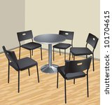 Five Chairs And Table  Interio...