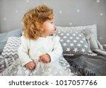little girl is sitting on the... | Shutterstock . vector #1017057766