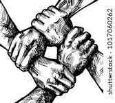 united hands together ink... | Shutterstock .eps vector #1017060262