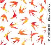 swallow seamless pattern.   Shutterstock . vector #1017060712