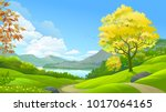 a forest in a paradise | Shutterstock .eps vector #1017064165