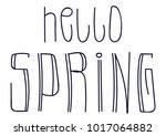 hello spring doodle lettering... | Shutterstock .eps vector #1017064882