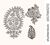 set of 3 paisley elements.... | Shutterstock .eps vector #1017065272