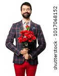 happy well dressed man holding... | Shutterstock . vector #1017068152