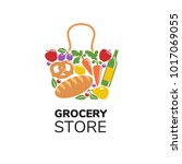 grocery store logo template.... | Shutterstock .eps vector #1017069055