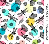 seamless pattern with... | Shutterstock .eps vector #1017074452