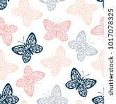 Stock vector vintage seamless pattern with butterflies 1017078325