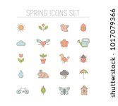 spring icons set. collection of ... | Shutterstock .eps vector #1017079366