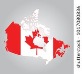 flag map of canada | Shutterstock .eps vector #1017080836