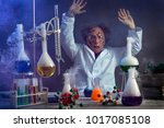 sad scientist with a failed... | Shutterstock . vector #1017085108