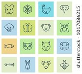 zoo icons set with bee  cat ...   Shutterstock .eps vector #1017086215