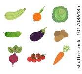 vector vegetables icons set in... | Shutterstock .eps vector #1017086485