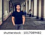 handsome muscular man with... | Shutterstock . vector #1017089482