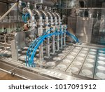 unit for pouring yoghurt into... | Shutterstock . vector #1017091912