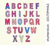 fantasy hand drawn font in... | Shutterstock .eps vector #1017094462