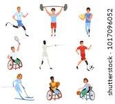 set of paralympics athletes... | Shutterstock .eps vector #1017096052