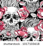 seamless pattern with image of... | Shutterstock .eps vector #1017103618