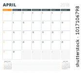 calendar planner for april 2018.... | Shutterstock .eps vector #1017106798