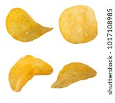 set of potato chips isolated   Shutterstock . vector #1017108985