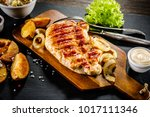 grilled chicken fillet and... | Shutterstock . vector #1017111346